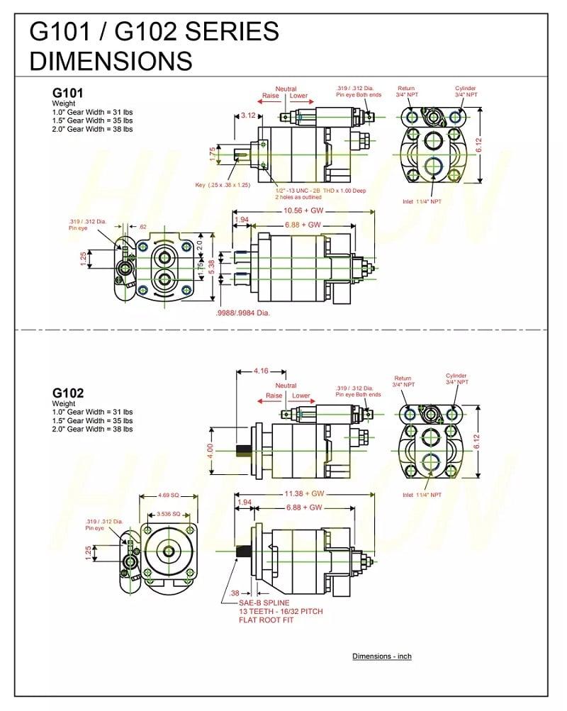 G101 G102 Hydraulic Gear Pump Dump Oil Pump Parker Series dimension