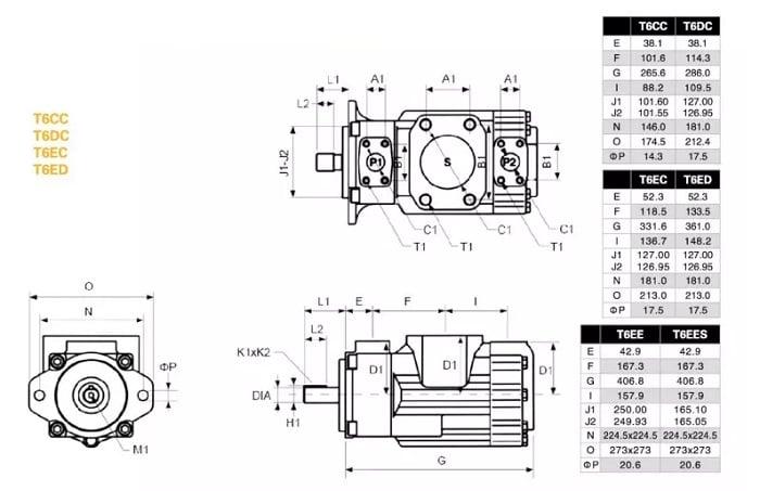 T6EC T6CC T6DC T6ED T6EE installation dimension1